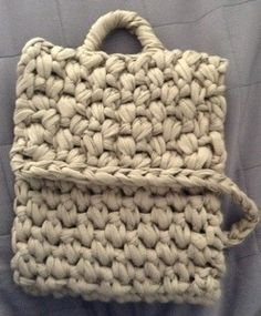 Recycled t-shirt yarn crochet ipad case with handle