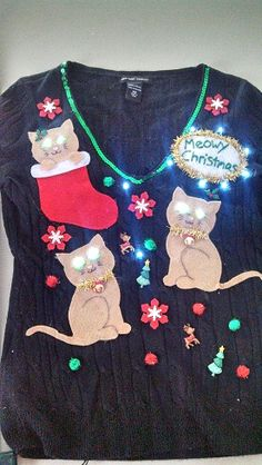 26 DIY Ugly Christmas Sweaters That Prove You're Awesome diy ugly christmas sweater<br> With these DIY ugly Christmas sweater ideas, you'll show people you really know how to get down for Christmas. Make your prize-winning fugly sweater today! Tacky Christmas Party, Diy Ugly Christmas Sweater, Ugly Sweater Party, Christmas Cats, Xmas Sweaters, Christmas Clothes, Christmas Outfits, Tacky Sweater Diy, Christmas Ideas