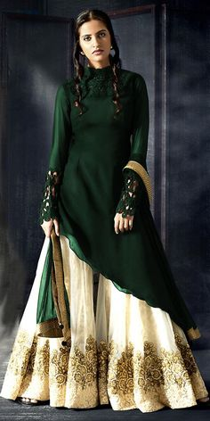 Dazzle Green Georgette Straight Suit With Dupatta.