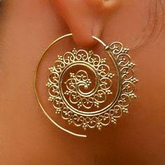 Beautiful Decorated Brass Hook Earrings Tribal by RONIBIZA