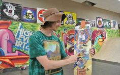 Cartoonist and Fort Smith resident Jason Meadows, 27, was hired in September by BoarderTown Skate Shop in Fort Smith to create a new graphic for the store and to creatively depict the town's past.