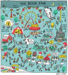 """""""The Book Fair"""" Poster sold by Incidental Comics. Shop more products from Incidental Comics on Storenvy, the home of independent small businesses all over the world. Life Comics, Comic Poster, Children's Picture Books, Reading Quotes, Inspirational Books, Comic Covers, Book Nerd, Love Book, Ny Times"""