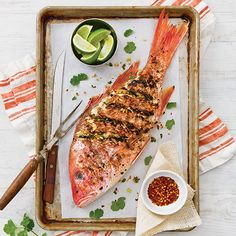 """""""There a lot of ways to grill a whole red snapper with Cajun or Creole flair, but sometimes I like to mix it up a bit with some Mexican or Italian herbs and spices. This Grilled Asian Red Snapper goes in another direction entirely and has become one of my go-to preparations. I use cilantro,"""