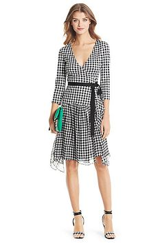 DVF Riviera Jersey and Chiffon Combo Wrap Dress in in Gingham Small Black