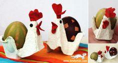 DES POULES AVEC UNE BOÎTE D'OEUFS EN CARTON chez Krokotak : ¶¶¶¶ Une boîte d'oeuf, un peu de peinture et c'est parti ! Pour plus de détails, c'est ici : http://krokotak.com/2013/02/egg-carton-hens/ UNE POULE AVEC UN ROULEAU DE PAPIER TOILETTE chez Mes...
