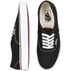 Vans Authentic Black/White ($68) ❤ liked on Polyvore featuring shoes, sneakers, vans, sapatos, waffle trainer, white black shoes, black and white skate shoes, black white shoes and unisex shoes