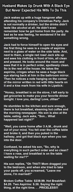 Husband Wakes Up Drunk With A Black Eye But Never Expected This From His Wife funny jokes story lol funny quote funny quotes funny sayings joke humor stories funny jokes