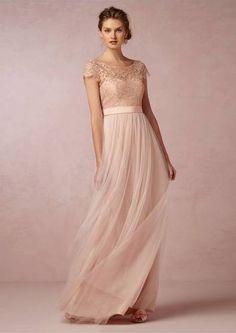 blush coloured wedding dress