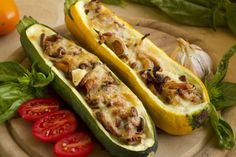 Serve as a sit-down appetizer with mixed greens tossed in Dijon vinaigrette or as a vegetable side dish. Zucchini Chips, Raw Vegan Recipes, Veggie Recipes, Veggie Food, Different Kinds Of Squash, Crookneck Squash, How To Cook Mushrooms, Stuffed Mushrooms, Stuffed Peppers