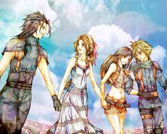 Zack, Aerith, Cloud, and Tifa