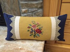 One-of-a-Kind Designer Art Pillow made from Upcycled Vintage European Textiles. Visit etsy.com/shop/VintageStoryLinens
