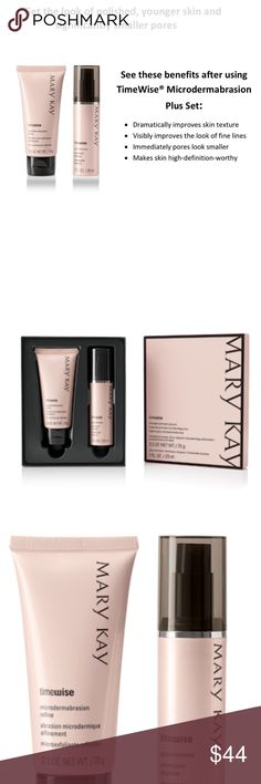 TimeWise Microdermabrasion Plus Set Get the look of polished, younger skin and significantly smaller pores with this two-step system. Immediately, skin looks younger, and pores look smaller. Dramatically improves skin's texture. Visibly improves the look of fine lines. Makes skin high definition-worthy. Mary Kay Makeup
