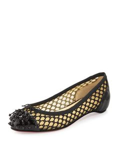 Mix Patent Knotted Red Sole Ballerina Flat, Black by Christian Louboutin at Neiman Marcus.
