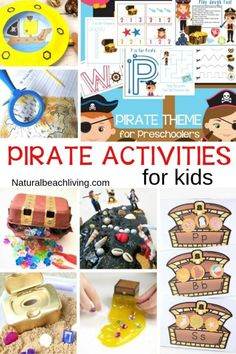 Pirate Activities for Kids - Fun and Unique Ideas - These Pirate Activities for kids are perfect for preschool and Kindergarten children to play with and create! You& have a blast right along with them. Pirate activities are great to add to an Un. Preschool Pirate Theme, Summer Preschool Themes, Preschool Math Games, Pirate Activities, Ocean Activities, Kindergarten Activities, Writing Activities, Activities For Kids, Preschool Class