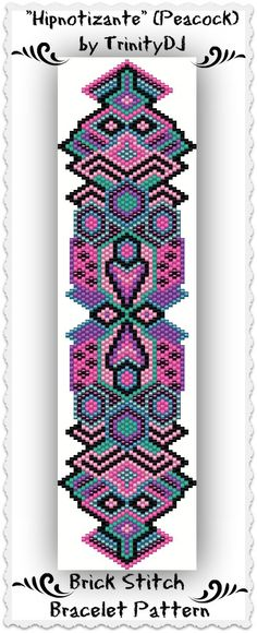 "New Brick Stitch Bracelet Pattern listed in my Etsy shop: ""Hipnotizante"" (Peacock) This is a true girly one, right? Love the colors. Please follow this link for more info: https://www.etsy.com/listing/166073814/bp-geo-040a-hipnotizante-peacock-peyote"