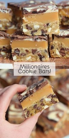 Triple Chocolate Chip Cookie Bars, with Homemade Caramel, and a Triple Chocolate Layer… Millionaires Cookie Bars! Triple Chocolate Chip Cookie Bars, with Homemade Caramel, and a Triple Chocolate Layer… Millionaires Cookie Bars! Oreo Dessert, Dessert Bars, Cake Bars, Dessert Food, Pumpkin Dessert, Triple Chocolate Chip Cookies, Homemade Chocolate Bars, White Chocolate Brownies, Baking Chocolate