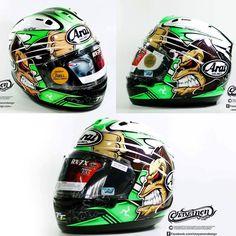Arai Helmets, Bike Helmets, Cycling Helmet, Kawasaki Motor, Vintage Helmet, Helmet Paint, Custom Helmets, Helmet Design, Cars