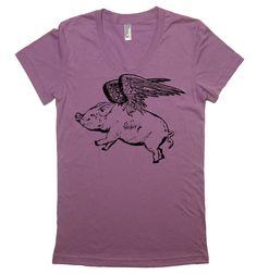 Women's Flying Pig T Shirt - American Apparel 50/50 Poly Cotton - S M L XL (20 Color Options). $20.00, via Etsy.