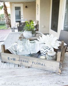 DIY Fixer Upper-Inspired Dutch Tulip Crate - Make use of that scrap wood pile and put together this super simple rustic tray with patterned metal grating. http://www.tableandhearth.com