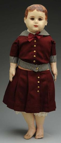"23"" cloth Alabama Indestructable Doll, with brown eyes, with molded stockinette featuring applied ears and muslin stuffed cloth body, made in Roanoke, Alabama, United States, 1904-1932, by Ella Smith."