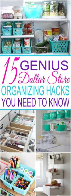 15 Genius Dollar Store Organizing Hacks You Need To Know. Organize your entire home with just one trip to the dollar store! Declutter your home on a small budget. From the bathroom and bedroom to the kitchen and pantry, these ideas will have you wondering how you got so much extra space! via @Jessica_Autumn_