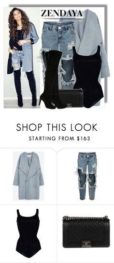 """ZENDAYA - Bodysuit trend"" by anne-mclayne ❤ liked on Polyvore featuring Zara, OneTeaspoon, Wolford, Chanel, Stuart Weitzman, GetTheLook, boyfriendjeans, zendaya, bodysuit and CelebrityStyle"