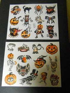 Halloween: Traditional Tattoo Flash Sheet set. $16.66, via Etsy.