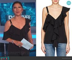 Julie's black ruffled top on Big Brother Black Ruffle, Ruffle Top, Big Brother Style, Julie Chen, Fashion Outfits, Silk, Blouse, Clothes, Tops