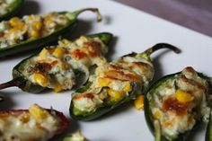 Cheesy Corn Stuffed Jalapenos - recipe - use bell peppers or banana peppers New Years Appetizers, Bite Size Appetizers, Mexican Appetizers, Vegetarian Appetizers, Finger Food Appetizers, Finger Foods, Mexican Food Recipes, Appetizer Recipes, Appetizer Ideas