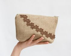 Burlap Cosmetic Pouch, Beige and Brown Rustic Zipper Bag, Makeup Organiser Bag, Bridesmaid Gift Idea on Etsy, $19.00