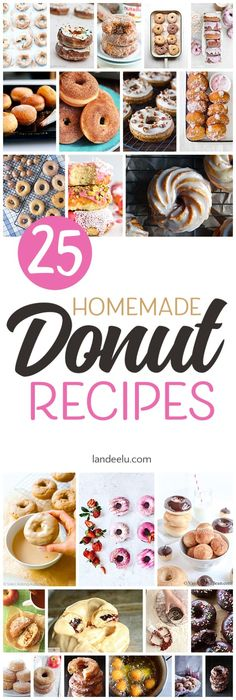 25 Delicious Homemade Donuts Recipes you can make in your own kitchen! Whip up a batch of homemade donuts and make everyone smile! Donut Recipes, Brunch Recipes, Breakfast Recipes, Dessert Recipes, Party Recipes, Breakfast Ideas, Bread Recipes, Yummy Recipes, Recipes