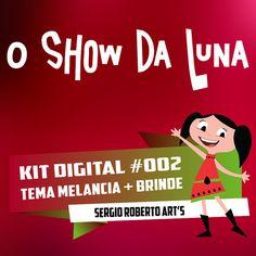 EARTH TO LUNA (Theme Watermelon) El mundo de Luna O Show da Luna Kit Scrapbook Digital Papers and Elements Cliparts 300 dpi Instant Download