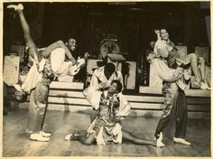 "Whitey's Hopping Maniacs performing with ""Le Cotton Club de New York"" at the Moulin Rouge in Paris, summer 1937. (left to right) Naomi Waller and Frankie Manning, Lucille Middleton and Jerome Williams, Mildred Cruse and Billy Williams"