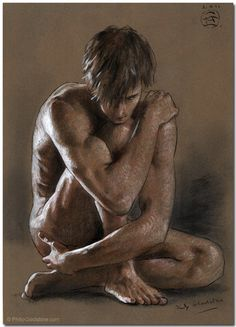 Kneeling male nude by Philip Gladstone