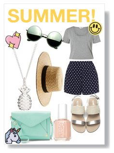 """summer fashion"" by velenlymarques on Polyvore featuring Miss Selfridge, Zizzi, Apt. 9, Revo, Hipstapatch, Janessa Leone, Big Bud Press and Essie"