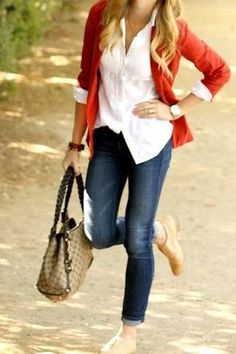 Red Outfit, love the top...