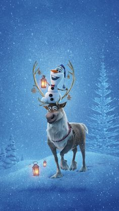 iPhone and Android Wallpapers: Olaf and Sven Frozen Wallpaper for iPhone and And Merry Christmas Wallpaper, Xmas Wallpaper, Frozen Wallpaper, Disney Phone Wallpaper, Winter Wallpaper, Wallpaper Backgrounds, Wallpaper Samsung, Disney Olaf, Disney Art