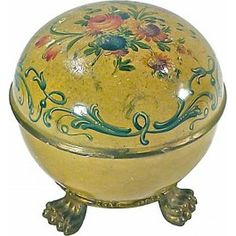 Antique Italian Domed Floral Box