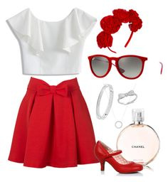 red pleats and bows by wendi-bovia on Polyvore featuring Chicwish, Michael Kors, Ray-Ban, Chanel and pleatedskirts