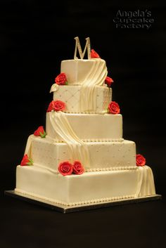 Square Wedding Cakes - love the swagging..