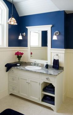 Custom bathroom cabinetry made by Crown Point Cabinetry, with examples in different homes Navy Bathroom, Bathroom Renos, Bathroom Renovations, Small Bathroom, Bathroom Beadboard, Bathroom Storage, Towel Storage, Bathroom Ideas, Modern Bathroom