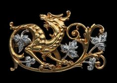 REVIVALIST Dragon Brooch  Gold Diamond H: 2 cm (0.79 in)  W: 3.2 cm (1.26 in)  French, c.1885