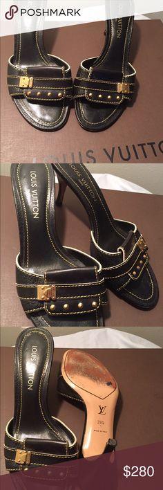 Authentic Louis Vuitton Mules Shoes Authentic Louis Vuitton Shoes. Size 39.5 USA. Perfect Condition no scratches, holes are smell. Louis Vuitton Shoes Mules & Clogs