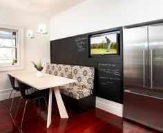 Chic banquette seating Contemporary Kitchen