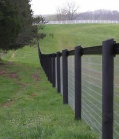 Black post and top rail wire mesh-- gorgeous, keeps everyone on their side of the fence.