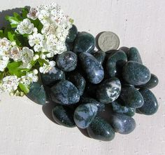 6 Large Green Jasper Crystal Tumblestones by SunnyCrystals on Etsy, £3.00
