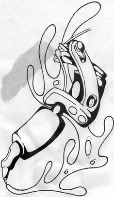 tattoo machine new school by Nate-O-Chasm on DeviantArt Japan Tattoo Design, Shiva Tattoo Design, Tattoo Sketches, Tattoo Drawings, Chest Tattoo Stencils, Jasmine Tattoo, Sailor Jerry Tattoo Flash, Tatuagem New School, Flower Drawing Tutorials