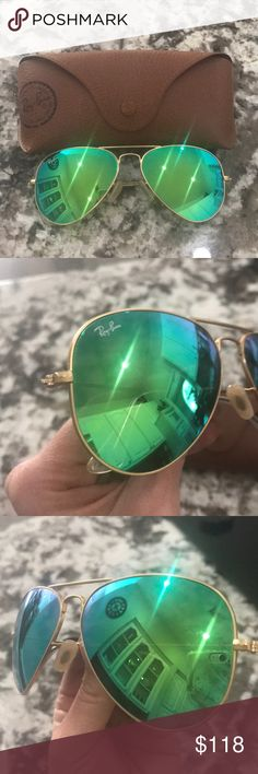 Authentic Ray-Ban Green Lens Gold Trim Aviators In excellent condition! No deep scratches! Light brushes on lenses shown in pics. Ready to be worn. 😎  Inside of side piece says 'RB 3025 AVIA TOP LARGE METAL I12719 58014 3N'. Ray-Ban Accessories Sunglasses