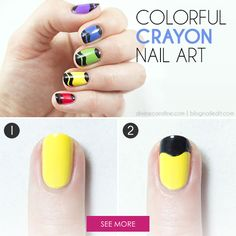 Get in touch with your inner 5-year-old and try to stay inside the lines with these cute crayon nails! #crayons #nailart #nails
