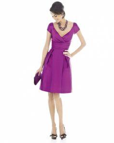 A purple, magenta shade. Alfred Sung A bridesmaid dress that you can wear again.